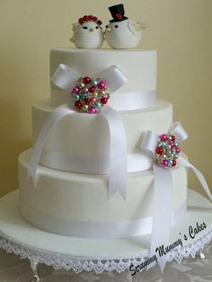 Libby Lovebirds 3 Tier Wedding Cake - Cake by Scrummy Mummy's Cakes