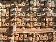Wall of Masks, Kabah, Mexico. Once you see this you will have questions about the technology they used to make 32+ pieces of masks over 5 feet tall each. Over 200 of them make the walls of a temple. Awesome...