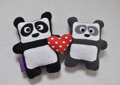 Maman Panda et son bébé / Peluche fait main poupée par FunkySunday