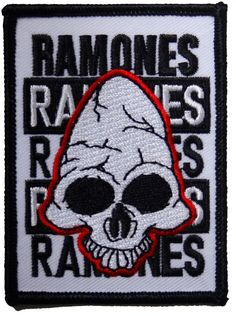 c0a37ef557 Official Ramones Iron-on patch measuring approx 85mm x 60mm featuring the  Pinhead Skull design