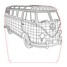 Old van illusion vector file for CNC - Led Light Design, 3d Light, Light Art, Lampe 3d, Led Lampe, Laser Art, 3d Laser, Cnc Projects, Laser Cutter Projects
