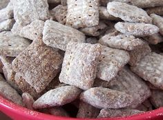 muddy buddies... Love these, pinning to remember the exact amounts on the ingredients