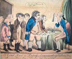 'A Great Man in Distress or Commiserating Visitors' by J.Tomlinson, 1801. Charles James Fox and others visiting William Pitt after his resignation.