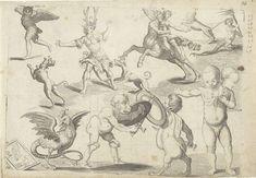 Studieblad met tekenvoorbeelden: fabeldieren en rariteiten, Hendrick Goltzius, Arent van Bolten, 1610 - 1672