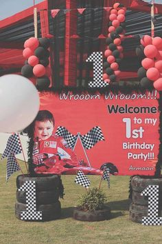 Welcome Sign to a Ferrari Themed 1st Birthday Party via Kara's Party Ideas | KarasPartyIdeas.com (18)