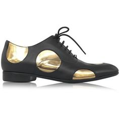 Marni Designer Shoes Black Leather Oxford Shoe w/Gold Metallic Polka Dots