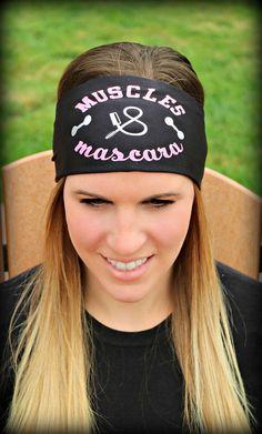 MUSCLES & MASCARA - RAVEbandz SLOGANZ Exclusive Fashion Headbands - Non-Slip Wide Hippie Sports & Athletic Hair Bands