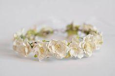 White woodland flower crown Flower crown wedding Cream white