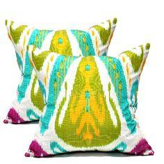 Ikat pillows for the sofa--love the vibrant color!  #onekingslane #designisneverdone