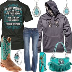 My Daddy Taught Me Under Armour Big Logo Hoodie Outfit - Real Country Ladies
