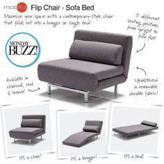 Catch you on the flip side! Our #MondayBuzz is this flip chair - sofa bed. It folds out to a lounger or a single sofa bed -- perfect for last minute holiday guests! REPIN the Buzz