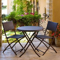 RST Brands Hand Woven Rattan 3pc Bistro Set 3pc Hand Woven Rattan Bistro Set Rattan Furniture Outdoor Furniture Outdoor Bistro Sets