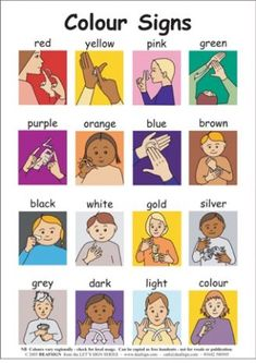"Deaf and Hard of hearing- not ASL but still interesting! Based on the spelling of ""colour"" I would guess British Sign Language! Sign Language For Kids, Sign Language Phrases, American Sign Language, Teaching Baby Sign Language, Sign Language Colors, Baby Sign Language Chart, Learn Sign Language Free, British Sign Language Alphabet, British Sign Language Dictionary"