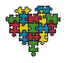 Puzzle Stück Herz Kreuz Stichbild von ThornTree auf Etsy