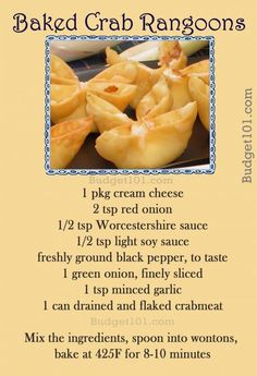 Homemade Baked Crab Rangoons are the wonton wrappers gluten free? Appetizer Dips, Yummy Appetizers, Appetizer Recipes, Chinese Appetizers, Wonton Appetizers, Supper Recipes, Asian Recipes, New Recipes, Cooking Recipes