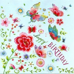 *Neu* Glitzer Postkarte Grußkarte Nina Chen * Happy Birthday Schmetterlinge