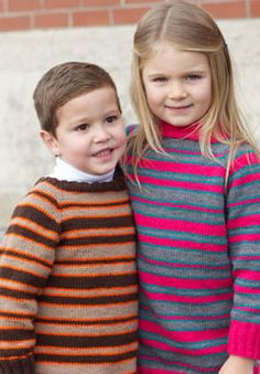 These top down striped sweaters are a classic cool-weather piece for stylish kids. Shown in Patons Astra.
