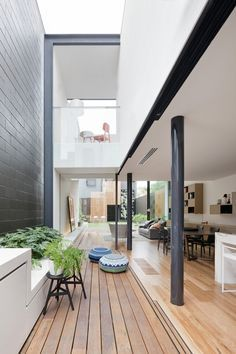 A terrace home in Melbourne re-imagined. great free flowing space blurring the inside/outside interface