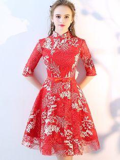 Embroidered Mesh A-Line Qipao / Cheongsam Wedding Dress