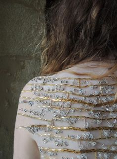 Beaded Embroidery with metallic bead clusters; artful fashion design detail; textured embellishment // Clementine Frey