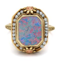 Victorian Revival 14K Yellow Gold Opal Doublet and Seed Pearl Ring   EBTH  Seed Pearl Ring 680710c2398a