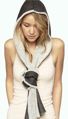 Ivory & Charcoal Scarf Hood ♥