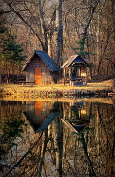 Tiny cabin on the lake in Hungary