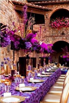 royal purple wedding reception table scape decor and floral centerpieces ---over the top. Party Decoration, Reception Decorations, Event Decor, Wedding Centerpieces, Wedding Table, Wedding Reception, Table Decorations, Flowers Decoration, Centrepieces