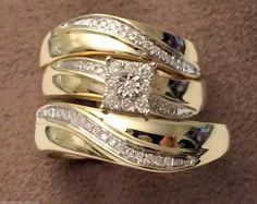 Yellow gold Wave design Flower style trio bridal set His Her Wedding Rings(0.22ct. tw)- RG331343077090