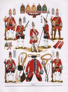 Brintish; Line Infantry, Grenadier Cos 1751. Top row Lto R Corporal 6th Foot, Grenadier 4th Foot, Officer 3rd Foot, Sergeant 4th Foot & Grenadier 9th Foot. Bottom Row; Grenadier 18th Foot & Grenadier 5th Foot. Fron The Thin Red Line by DSV & BK Fosten