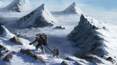 art  mountains  snow  mountain climbers  top  height fantasy wallpaper background