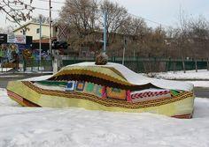 Hahahaha  Would you knit your car a cozy? I love the pom pom!  Love the creativity!!!