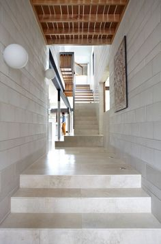 Austral Masonry Blocks From The GB Honed Range In Colour Porcelain Were  Used Throughout The Interior Of Clayfield House Becoming A Major Décor  Element.