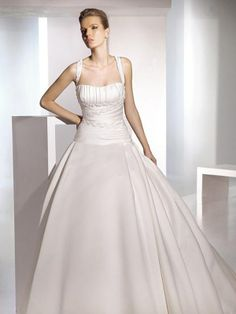 Ball Gown Satin Ruffled Bodice with Chapel Train Skirt