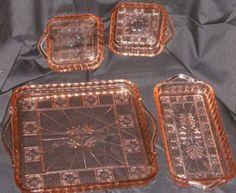 depression glass   pink depression glass relish tray set four square and rectangular ...