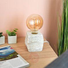 Lampa stołowa Stone, biały marmur   Lampy.pl Illuminati, Led Lamp, Stone, Lighting, Home Decor, Products, Unique, Neon Lamp, Bedroom Table Lamps