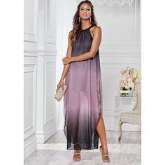 Venus Women's Ombre Glitter Long Dress ($49) ❤ liked on Polyvore featuring dresses, grey, glitter dress, ombre maxi dresses, glitter maxi dress, gray dress and lined dress