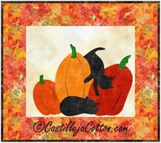 """Great Autumn wall hanging pattern. Fusible Applique cats and pumpkins. Perfect for Fall or Halloween decorating. Finished Size: Mini Wall Hanging 17.5"""" x 15.5"""" Skill Level: Advanced Beginner Technique: Fusible Applique/Pieced"""