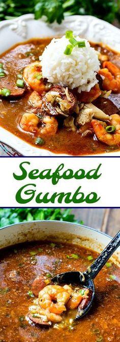 Gumbo de mariscos con camarones y cangrejo - Meeresfrüchte-Rezepte - Fish Recipes, Seafood Recipes, Gourmet Recipes, Cooking Recipes, Gumbo Recipes, Crab Gumbo Recipe, Seafood Meals, Gumbo Recipe Without Okra, Louisiana Gumbo Recipe Seafood