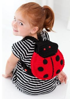 Red Heart® Ladybug Backpack #crochet #pattern