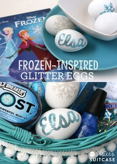 Make some custom glittered Easter Eggs for your FROZEN fan! Easy DIY using double-sided adhesive from Silhouette!