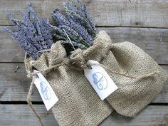 Lavender favors in burlap...perfect for a rustic country wedding! Very shabby chic.
