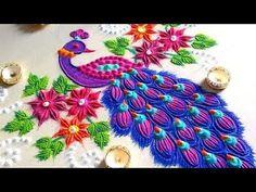 YouTube Rangoli Designs Peacock, Easy Rangoli Designs Diwali, Diwali Special Rangoli Design, Free Hand Rangoli Design, Small Rangoli Design, Colorful Rangoli Designs, Rangoli Ideas, Diwali Rangoli, Beautiful Rangoli Designs