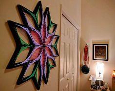 Origen Sx - arte cadena, geometría sagrada, psychedelic, arte de la pared, decoración casera, mandala, zen, arte 3D, don espiritual, yoga, Ultravioleta, luz negra