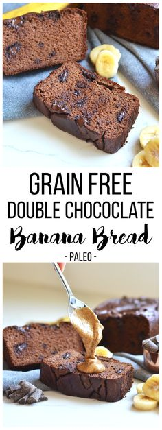 This Grain Free Double Chocolate Banana Bread is moist, chocolatey and loved by everyone - paleo or not!!