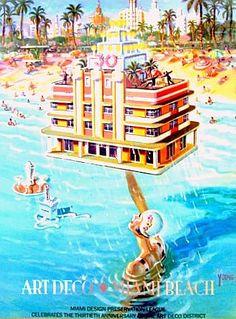 South Beach Miami Vintage Ad Poster