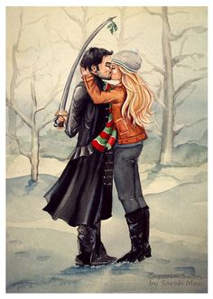 Observing Traditions (pirate style). Watercolour. This fluffy idea came to me clearly in September but every day is Christmas when it comes to Captain Swan so I couldn't wait. Thanks to msgenevieve447 who has very kindly written an adorable ficlet accompaniment that brings the scene to life. Check it out here! My other Once fanart can be found here and cards/prints of this are available here. Disclaimer: I'm always grateful for reblogs, retweets and repins but please don't ...