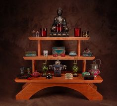 Three Tier Cherry wood Puja Table  by theyankeewoodsmith on Etsy
