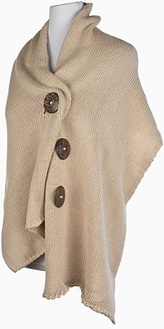 love this chunky sweater wrap and big buttons!  plus size