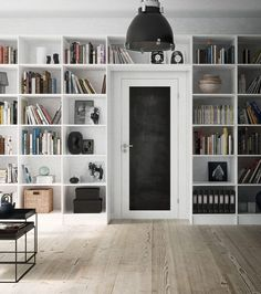 wall o' storage, built-in bookcase around door Built In Bookcase, Bookshelves, Modular Shelving, Home Libraries, Interior Decorating, Interior Design, Home Bedroom, Ikea, New Homes